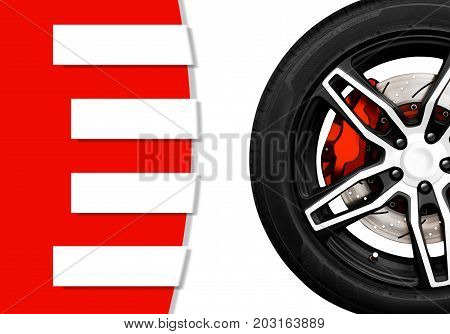 Alloy wheels of racing car with metal brake disc and red caliper with banner and copy space your text writing for decorative Automotive parts concept.