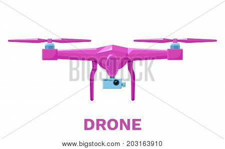 Drone or quadcopter colorful pink icon in flat style, flying gadget with video camera, vector illustration