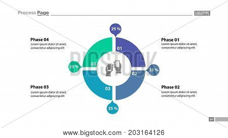 Four phase comparison donut chart. Element of graph, diagram, infographic. Concept for presentation, slide template, annual report. Can be used for topics like communication, technology, trade
