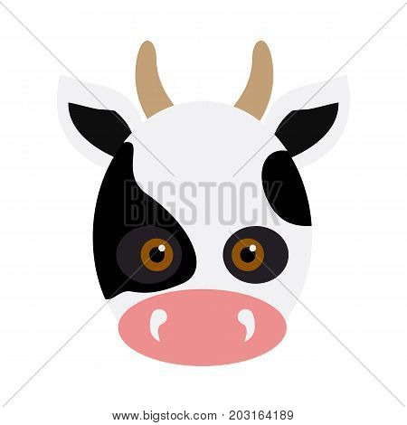 Cow animal carnival mask vector illustration in flat style. White and black dotted beef. Funny childish masquerade mask isolated on white. New Year masque for festivals, holiday dress code for kids