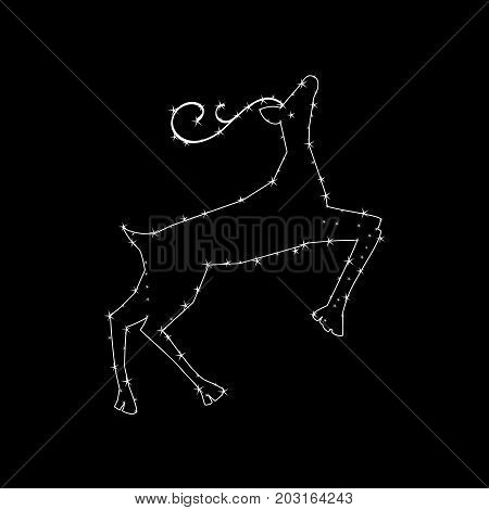 Constellation in the form of a deer. constellation in the form of a deer. Vector illustration on a black background