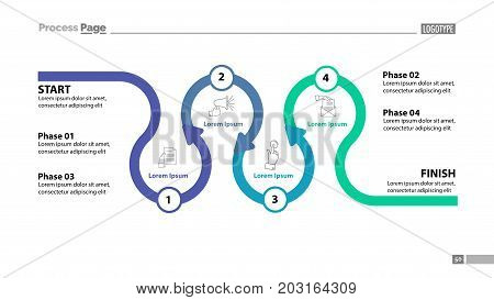 Four phase flow chart slide template. Element of diagram, infographic, flowchart. Concept for presentation, slide template, annual report. Can be used for topics like business, recruitment, communication