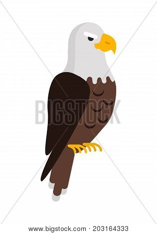 Eagle large bird of prey cartoon isolated on white background. Eagles are large, powerfully built birds, with heavy head and beak. Sticker for children. Vector design illustration in flat style