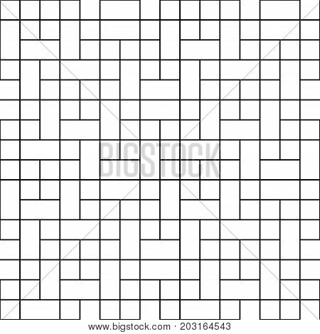 Black Square Block Seamless on White Background. Vector Illustration.