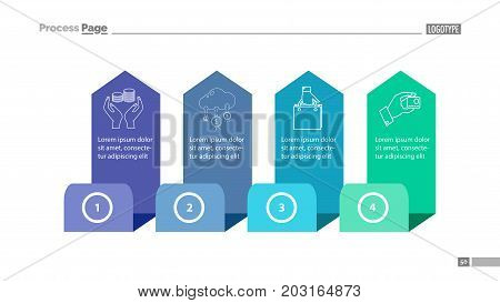 Four step process chart slide template. Element of diagram, strategy, plan. Concept for presentation, slide template, annual report. Can be used for topics like trade, finance, consumerism