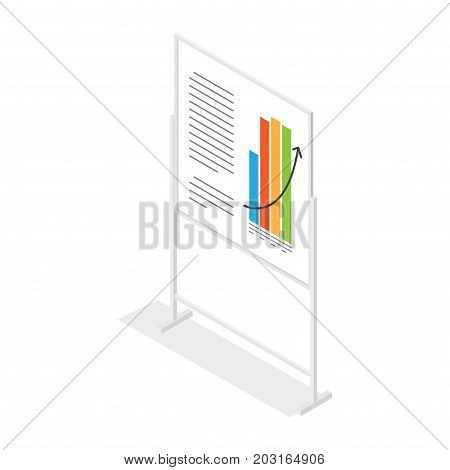 White placard with growing schedule and inscriptions cartoon style on white background. Graph including four columns different colours and rising black arrow. Vector illustration web banner.