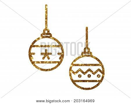 Vector Golden Glitter Christmas Ball Deocoration Icon