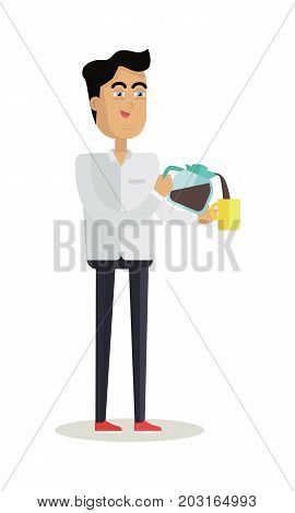 Business man with coffee maker and cup of hot hot drink. Concept of business people coffee break, business team coffee break, communicating at break. Flat design vector illustration
