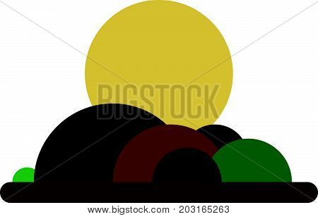 Cartoon sunset hilly landscape with forest. Nature illustration.