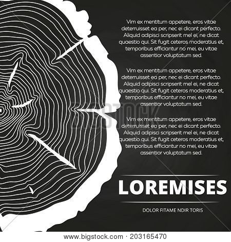 Chalkboard poster with white half tree growth rings design. Vector illustration