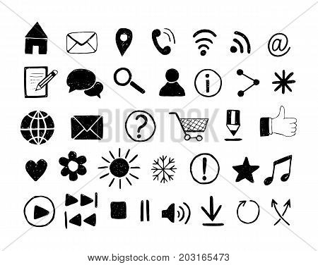 Set of  hand drawn icons for web site and print templates. Media, communication, business and music icons. Vector illustration.