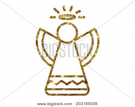 Vector Golden Glitter Christmas Angel Line Icon