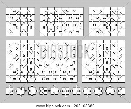 Vector set of various puzzles and jigsaw piece. Vector illustration eps10.