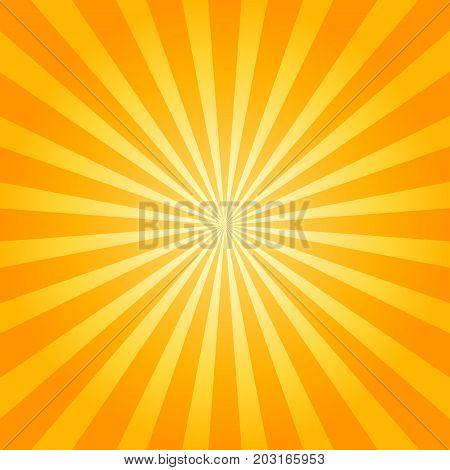 Sunburst orange background. Starburst texture. Vector illustration