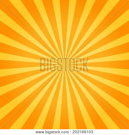 Sunburst orange background. Starburst texture. Vector illustration eps10