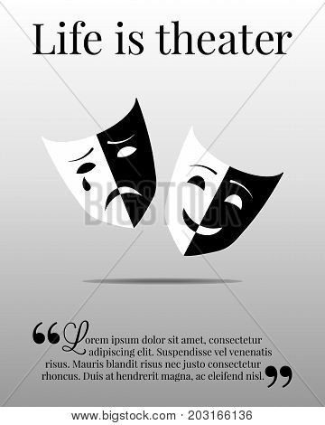 Poster or flyer with theater masks and sample text. Vector illustration eps10.