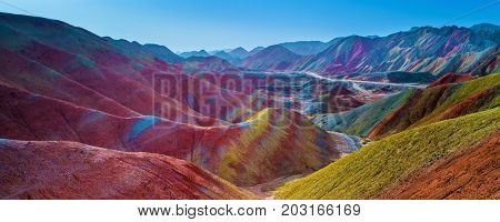 Rainbow mountains with colorful pattern in Zhangye Danxia geological park in Gansu province, China, May 2017