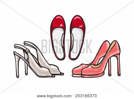 Three pairs of high heel shoes. Fashionable footwear. Lady's stylish footwear. Shoes for warm season. Red, pink and beige. Cartoon style. Flat design. Collection of different footgear. Vector