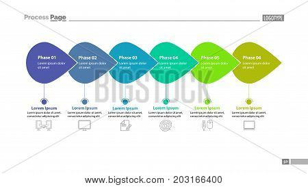 Six phase process chart slide template. Element of plan, strategy, chart. Concept for presentation, templates, annual report. Can be used for topics like business, technology, recruitment
