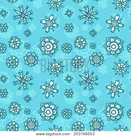 Flowers - blue colors cartoon seamless print. Textile pajama or wrapping pattern for kids.