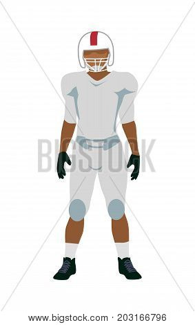American football player in white and black uniform and helmet. White football equipment. Sport team game. Sportsman logo. Vector
