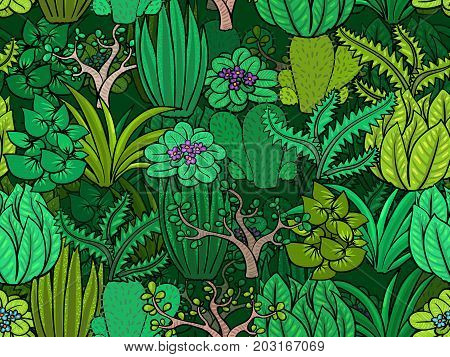 Green plants - vegetable life seamless background fo design