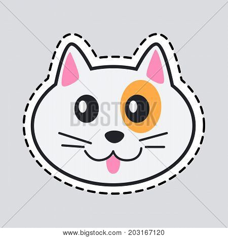 Muzzle of cat. Cut it out. Patch. Light cat with orange spot around black eye, pink tongue. Pink ears inside. Flat style. Vector.