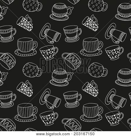 Seamless background - cups on chalkboard. Black teatime pattern