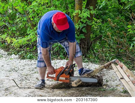 Professional is cutting firewood in forest with a professional chainsaw