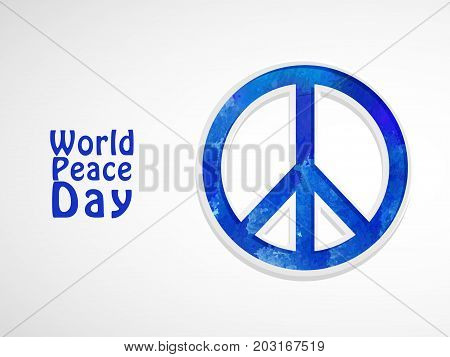 illustration of Peace Symbol with World Peace Day text on the occasion of World Peace Day