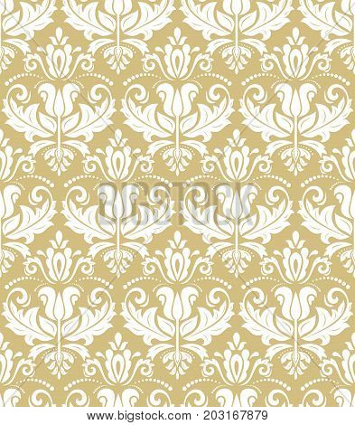 Oriental classic golden and white pattern. Seamless abstract background with repeating elements. Orient background