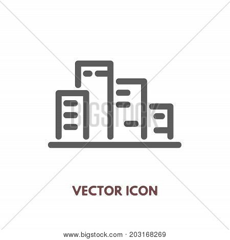Vector doodle city icon. Stock line symbol for design.