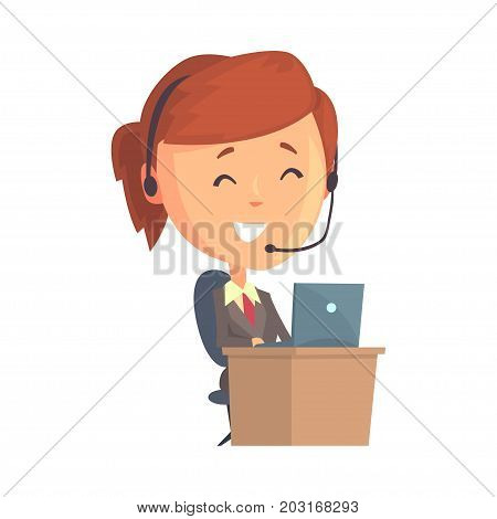 Businesswoman character sitting with laptop and headset, call center operator with a headset cartoon vector Illustration on a white background