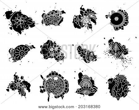 Vector abstract blots of tattoo henna. Stock set for design on white background.