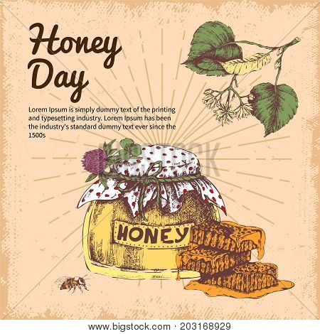 Honey day hand drawn design with branch of linden bee product on beige worn background vector illustration