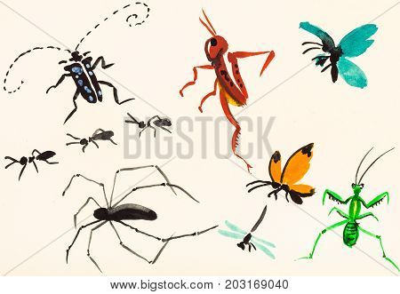 Many Insects Hand Painted On Cream Colored Paper