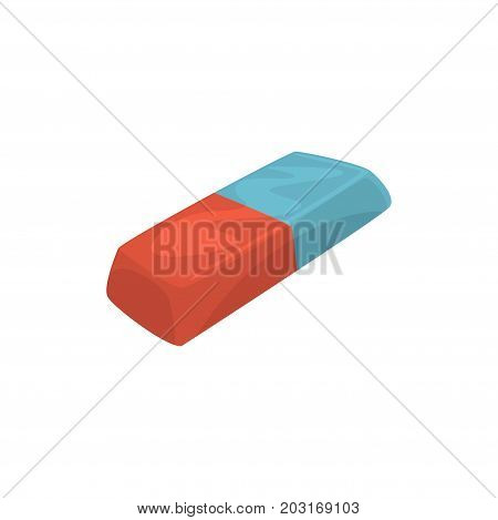 Rubber pencil eraser, office tool cartoon vector Illustration on a white background
