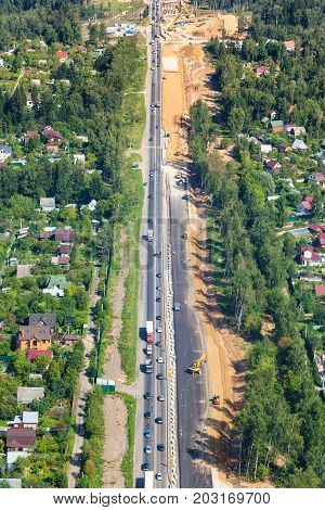 Above View Of Construction Of Highway