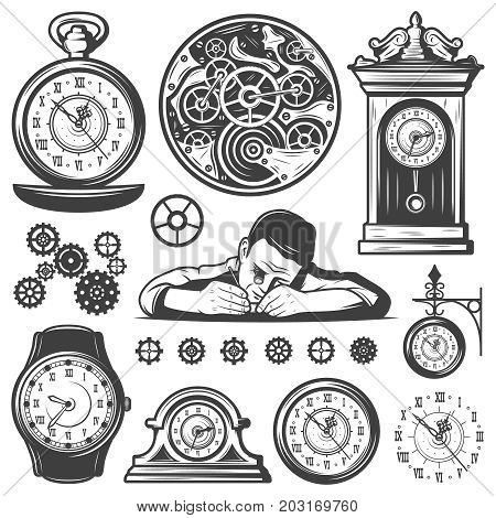 Vintage monochrome clocks repair elements set with working master mechanisms gear and different watches isolated vector illustration