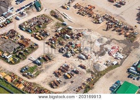 Above View Of Cars In Country Motor Depot