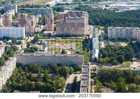 Above View Of Residential District In Dedovsk Town