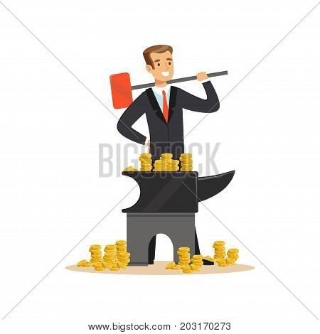 Man in a business suit forging money on the anvil, make money concept vector Illustration on a white background