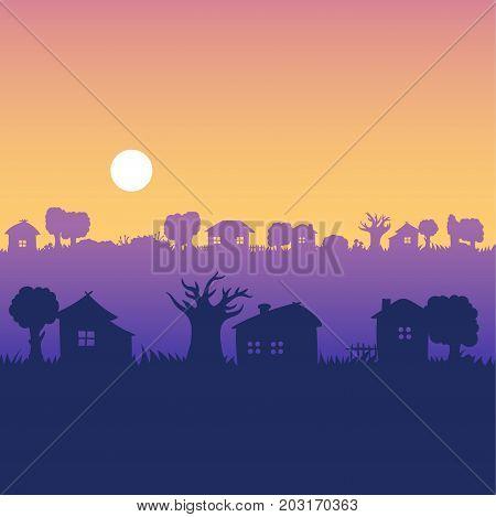 Morning dawning sunshine village - vector seamless landscape