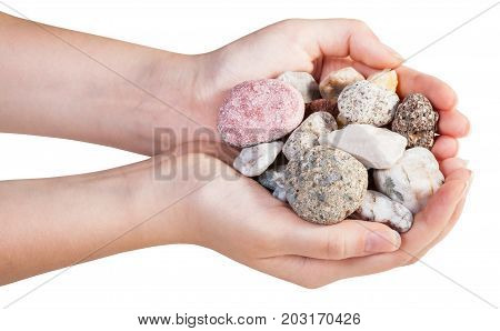 Above View Of Various Mineral Pebbles In Handful
