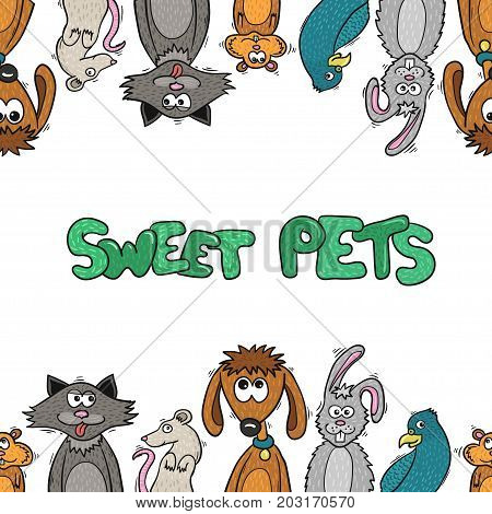 Cute cartoon pets and toys - vector illustration for design