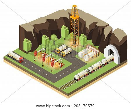 Isometric oil extraction concept with drilling rigs petroleum transportation and barrels isolated vector illustration