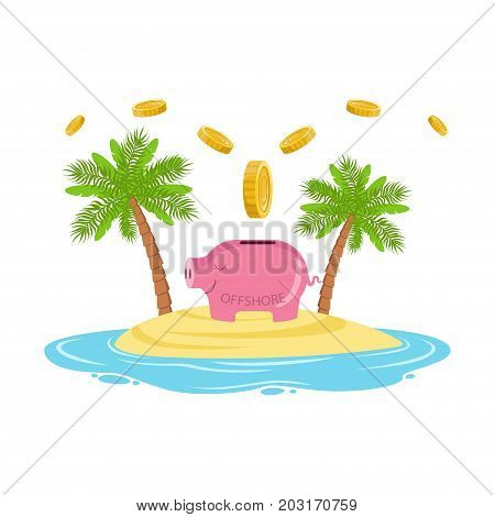 Gold coins falling in a piggy bank on a tropical island, offshore banking concept vector Illustration on a white background