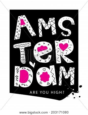Amsterdam typography / T shirt graphics slogan tee / Textile vector print design