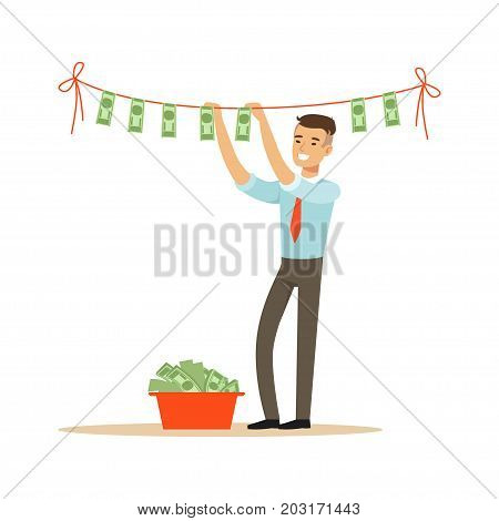 Businessman drying banknotes on the clothesline, illegal money laundering vector Illustration on a white background