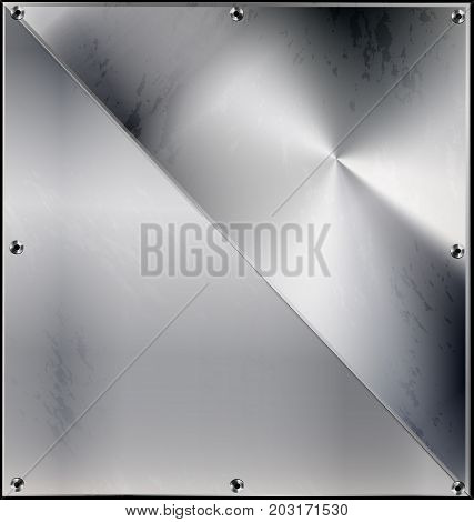 iron background metal stylized sheet with geometric figure triangle and holes